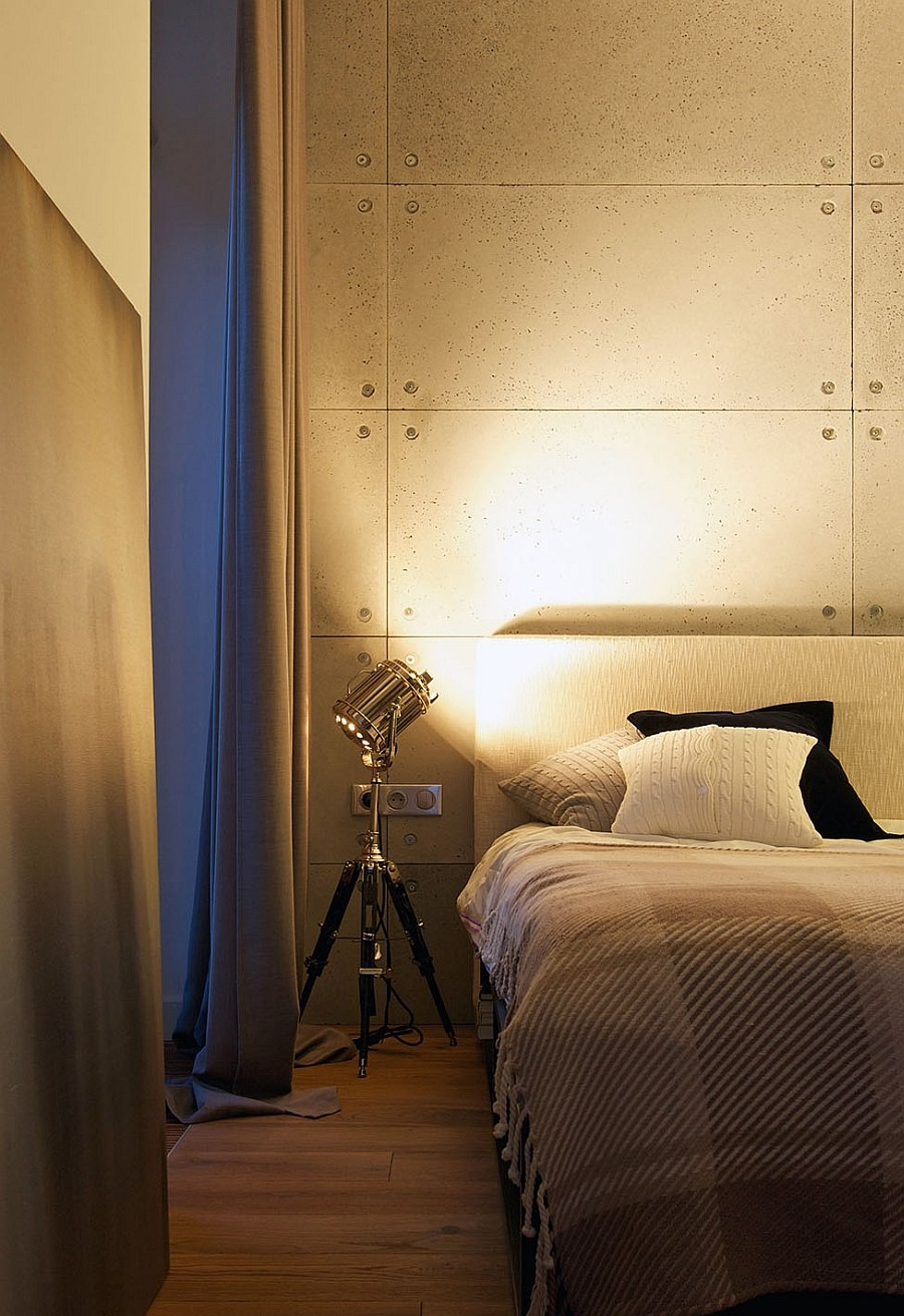 Innovative bedside lighting idea in industrial bedroom
