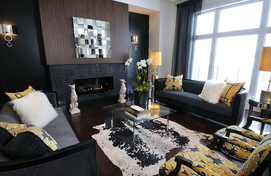 Interesting yellow accents add cheerful elegance to the dark living room [By: Atmosphere Interior Design]