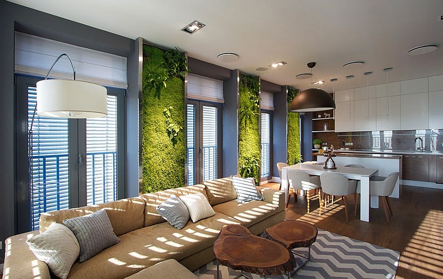 Interior of Modern Apartment in Dnepropetrovsk Ukraine by SVOYA Accent Green Walls For A Stylish Apartment