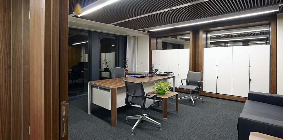 Interior of the office spaces uses a lighter color scheme