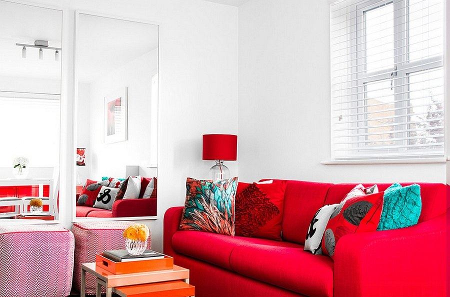It is decor that brings in the red here [Design: Bhavin Taylor Design]