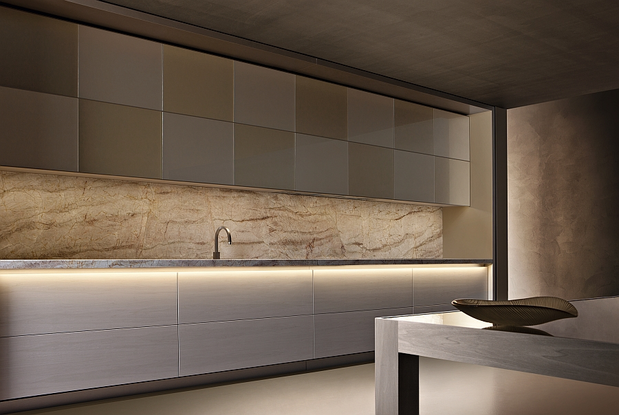 LED lighting in the bottom adds a sense of sophistication to the wall units