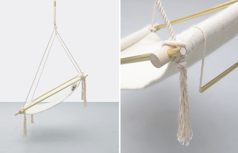 L&G Studio's Ovis Hanging Chair with a natural wool seat