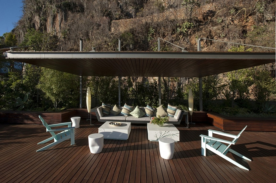 Lavish outdoor deck with expansive lake views
