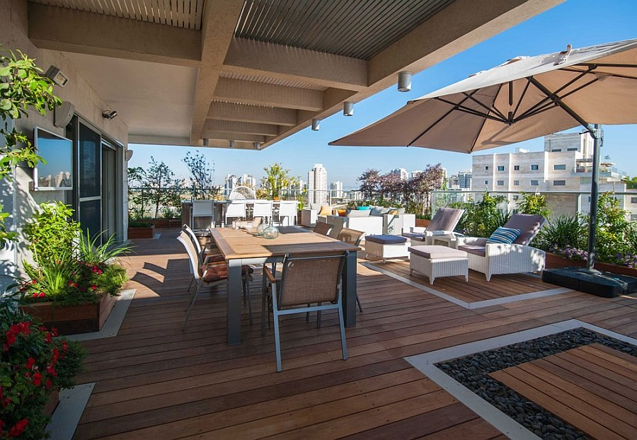 Lavish penthouse balcony with unabated views of Petah Tikva Renovated Israeli Penthouse With Lavish Balcony Space