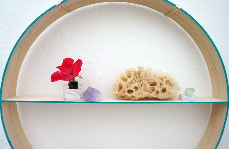 Lightweight items on a round shelf Create A Round DIY Shelf In A Few Easy Steps