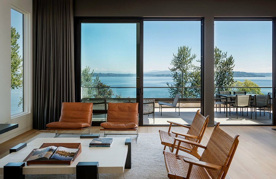 Living area of the house with Lake Washington in the backdrop