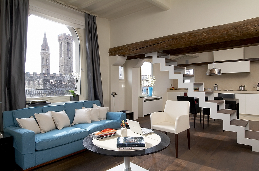 Living area of the renovated Renaissance period watchtower home in Florence