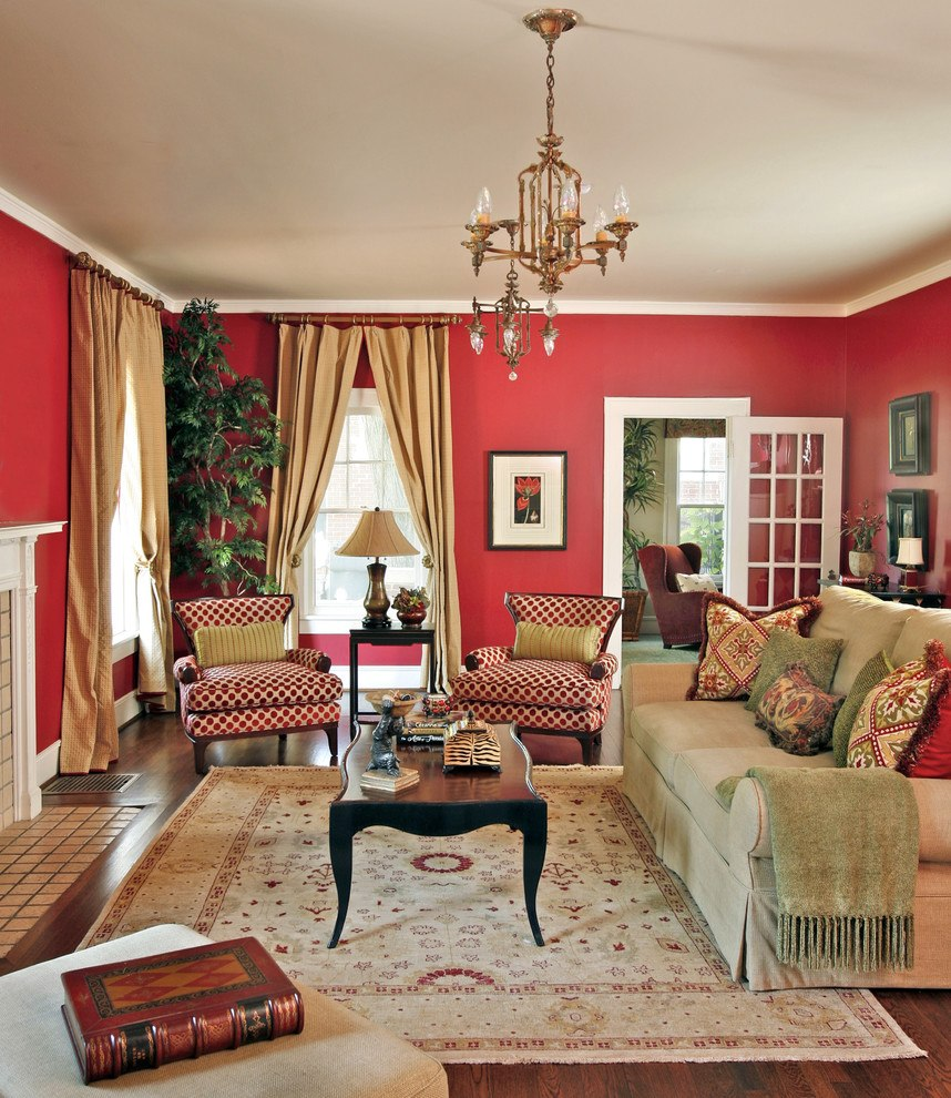 Red living rooms design ideas decorations photos for Color ideas for walls in living room