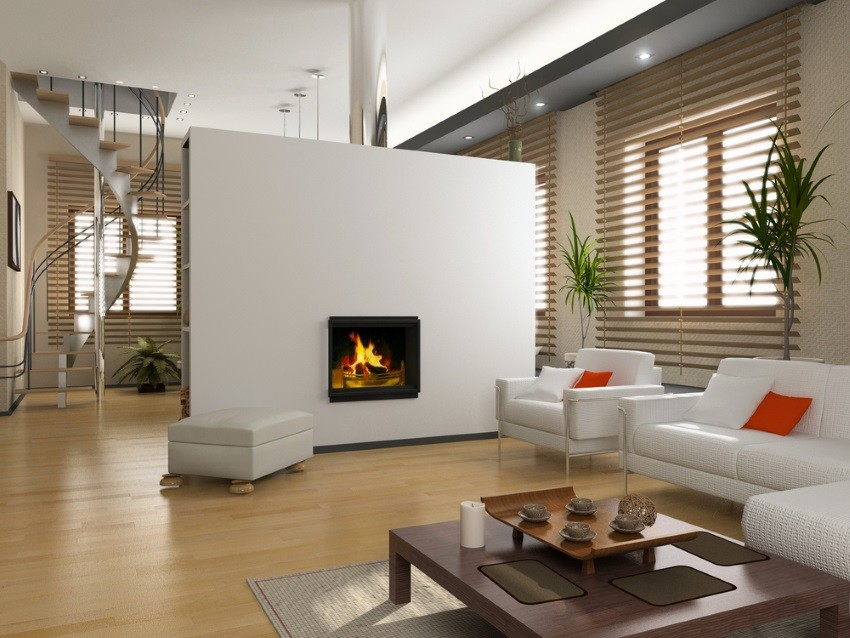 Living room with miniblinds and a fireplace