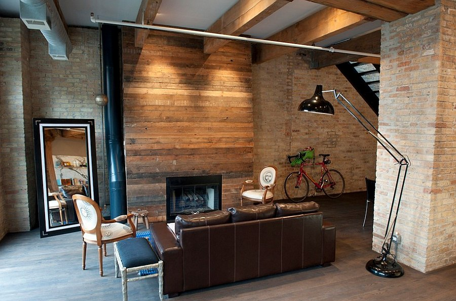 room with wood panels exposed brick walls and interesting decor