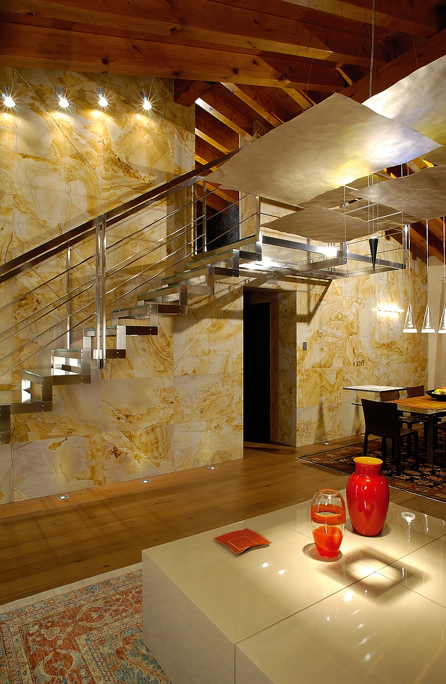 Lovely Antolini natural stone surfaces can be used across the house
