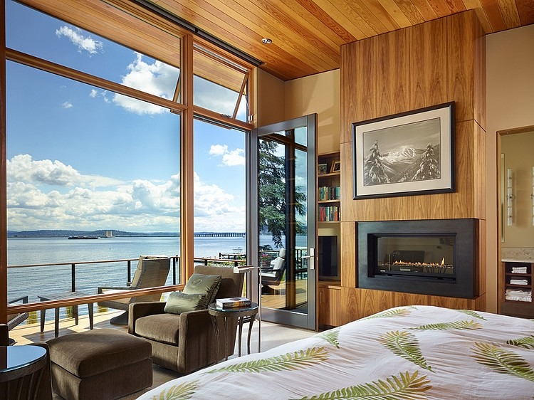 Lovely bedroom with a view of Lake Washington