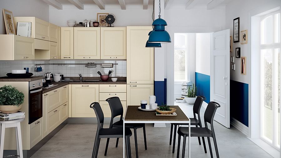 Lovely use of cream and bright blue in the kitchen and dining room