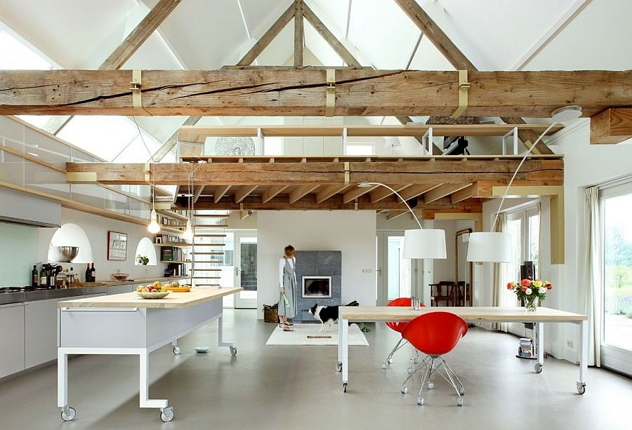 Lovely use of space inside the renovated barn