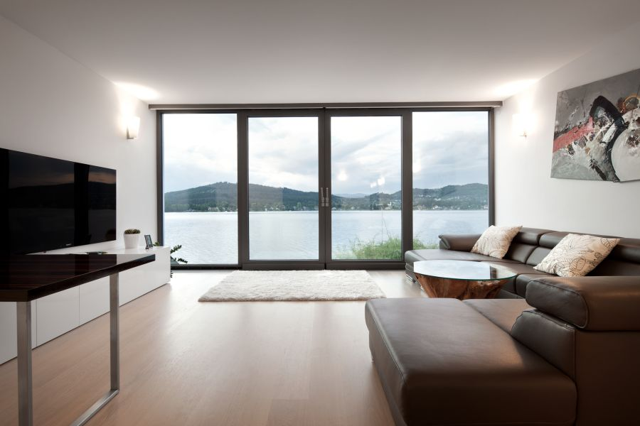 Sleek Exterior Of The Lakeside House View In Gallery Lovely Lake From Living Room