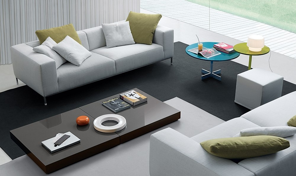 Low slung coffee tables bring inimitable flair to the living room