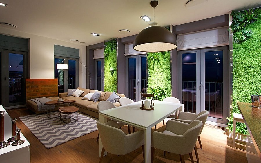 Luminous vertical gardens in the living room of the apartment