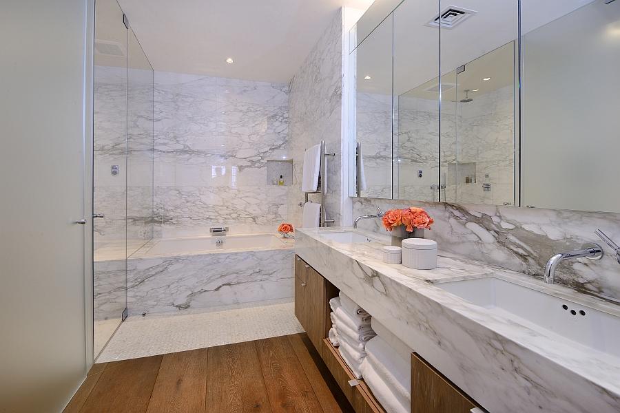 Luxurious bathroom with marble and  radiant heat floors
