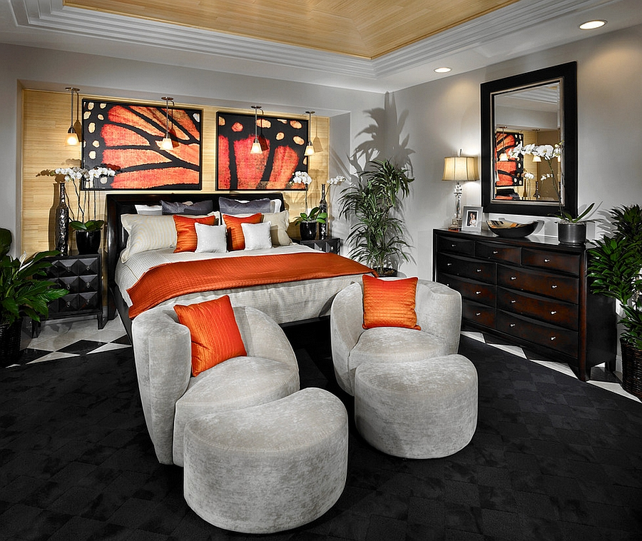 Luxurious master bedroom in black and orange [By: Possibilities for Design]