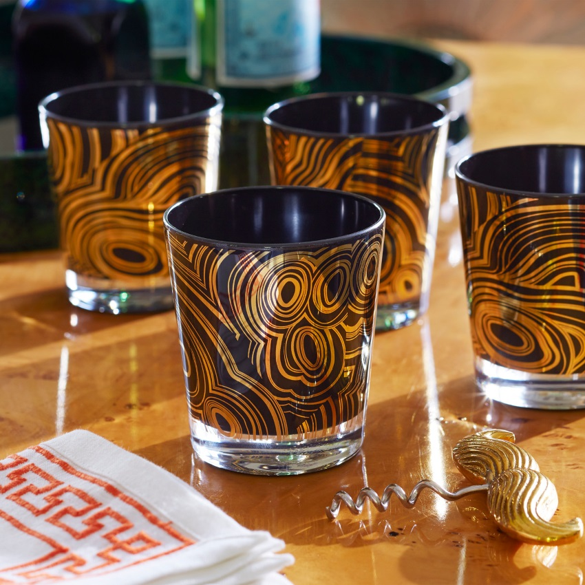 Malachite glassware from Jonathan Adler