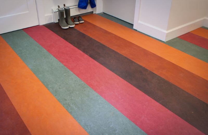 Eco friendly flooring options for modern spaces for Colourful lino flooring