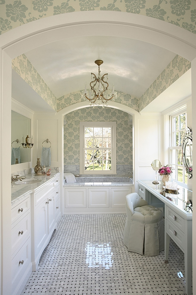Master bathroom that makes smart use of its unique plan [Design: RLH Studio]