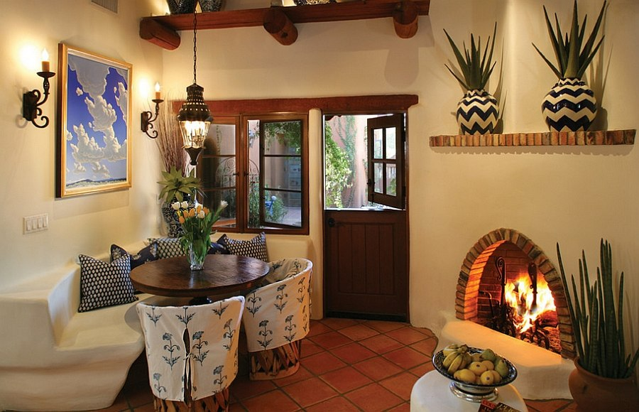 Mediterranean Style Dining Room With Cozy Corner Fireplace