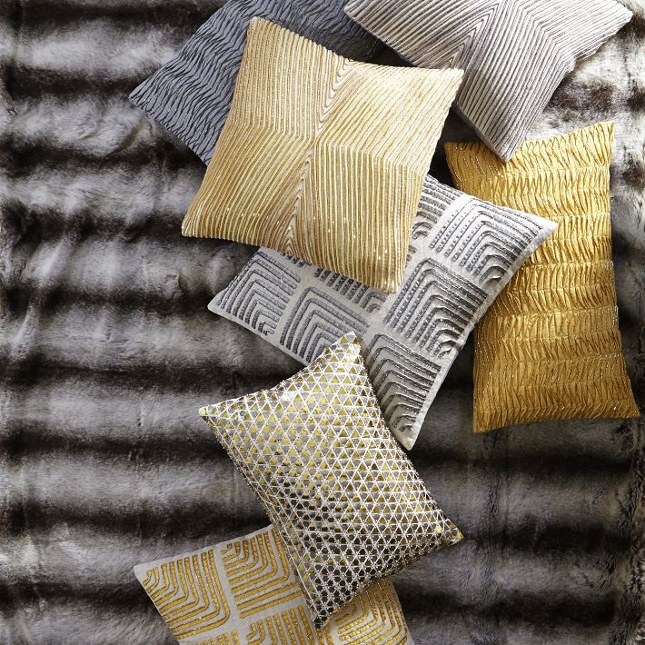 Metallic patterned pillows for fall and winter