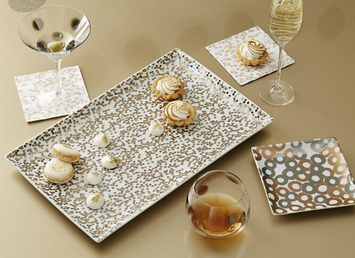 Metallic serveware from Crate & Barrel