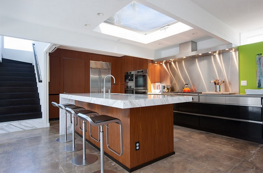 View In Gallery Modern Kitchen With Caesarstone And Marble Countertops