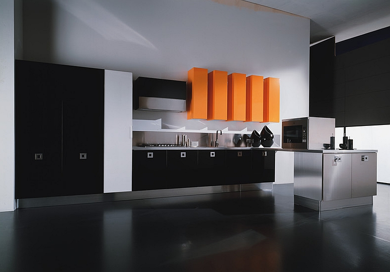 Modern minimalist combination of orange and black in the kitchen [Dali Kitchen Collection - Aran Cucine]