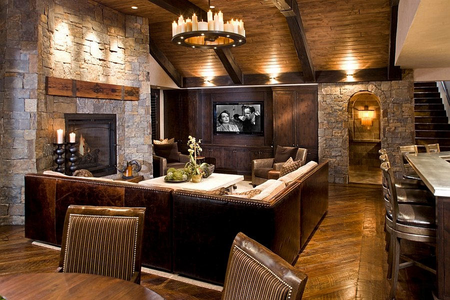 view in gallery natural stone and reclaimed timber shape the rustic living room design john kraemer - Cabin Living Room Decor