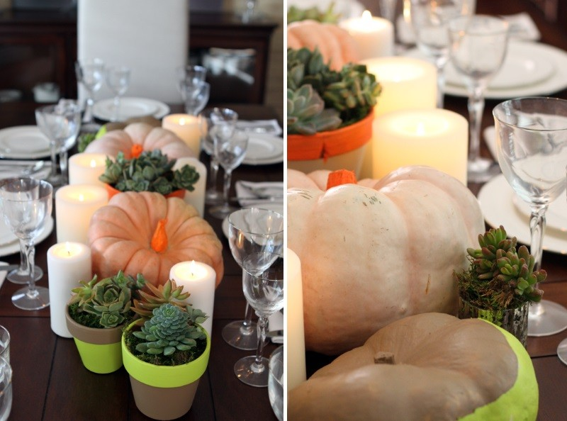 Neon table setting with pumpkins