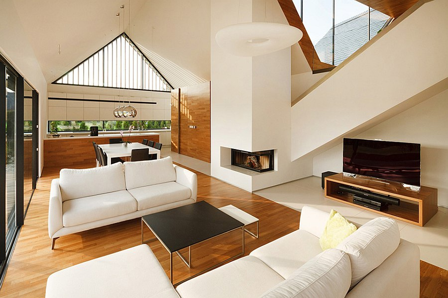 Open plan contemporary living space in white