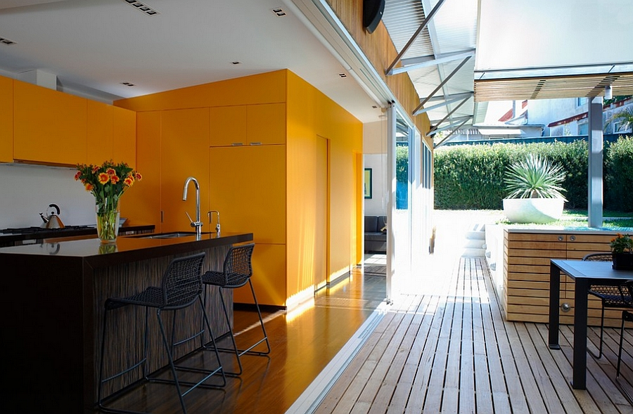 Orange and black can be a cheerful, trendy combination