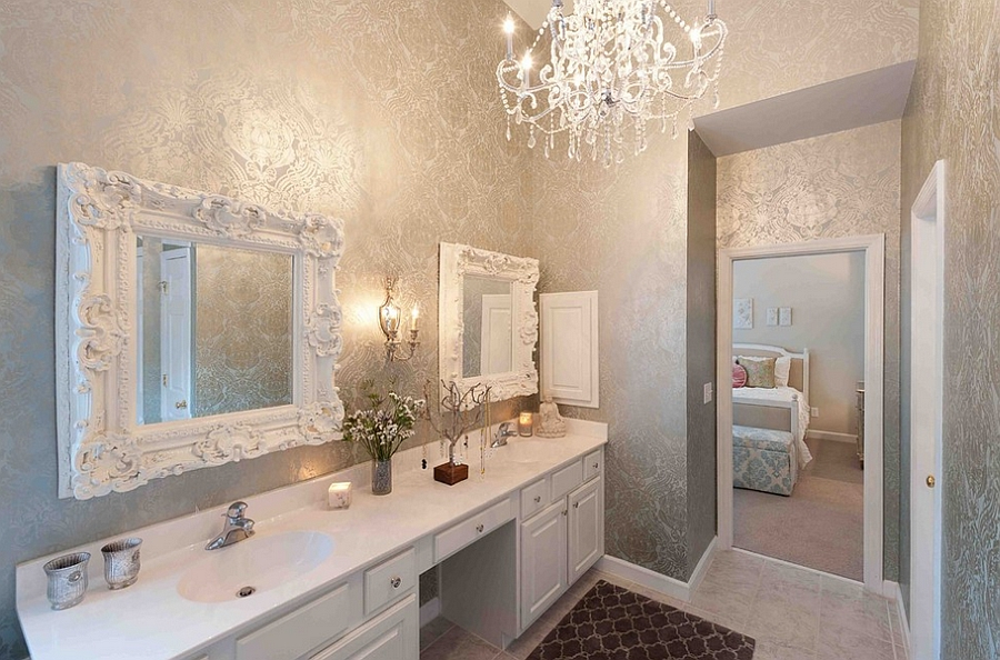 Perfect way to use metallic silver in the bathroom [By: Heather ODonovan Interior Design]