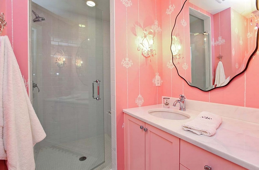 Pink is a natural choice for the girly modern bath [Design: Refined LLC]