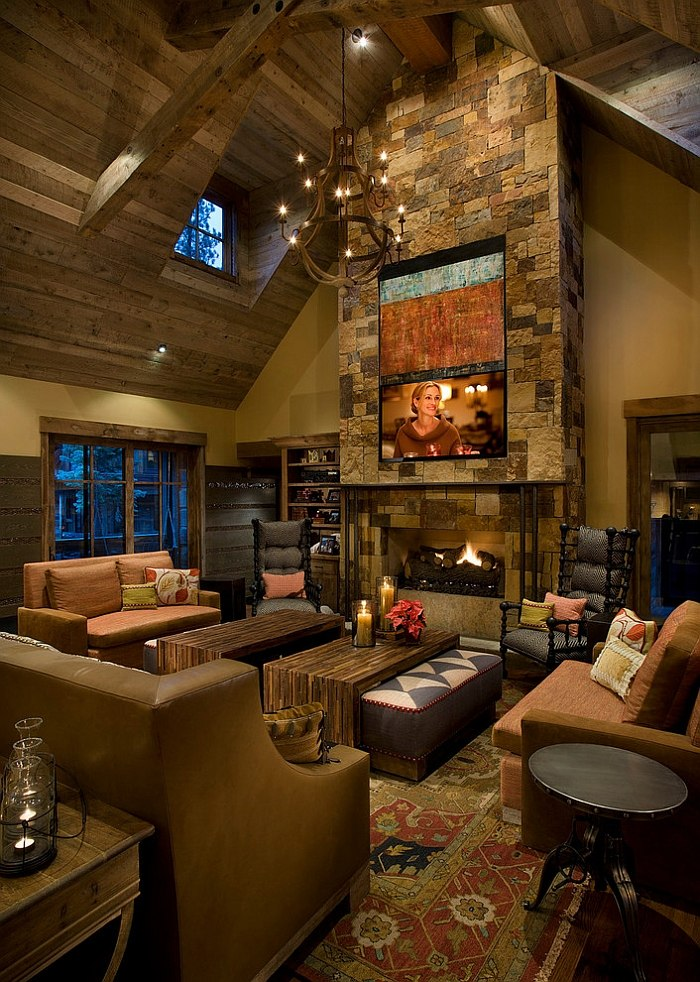 30 Rustic Living Room Ideas For A Cozy Organic Home : Placing the TV high up works in large living rooms with ample space from www.decoist.com size 700 x 982 jpeg 188kB