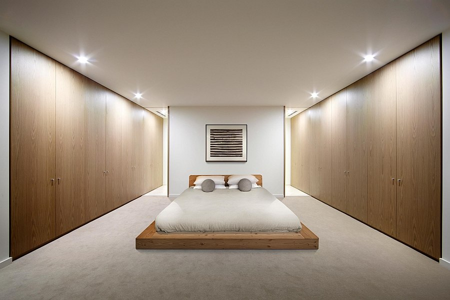 Platform bed gives the bedroom a minimal appeal