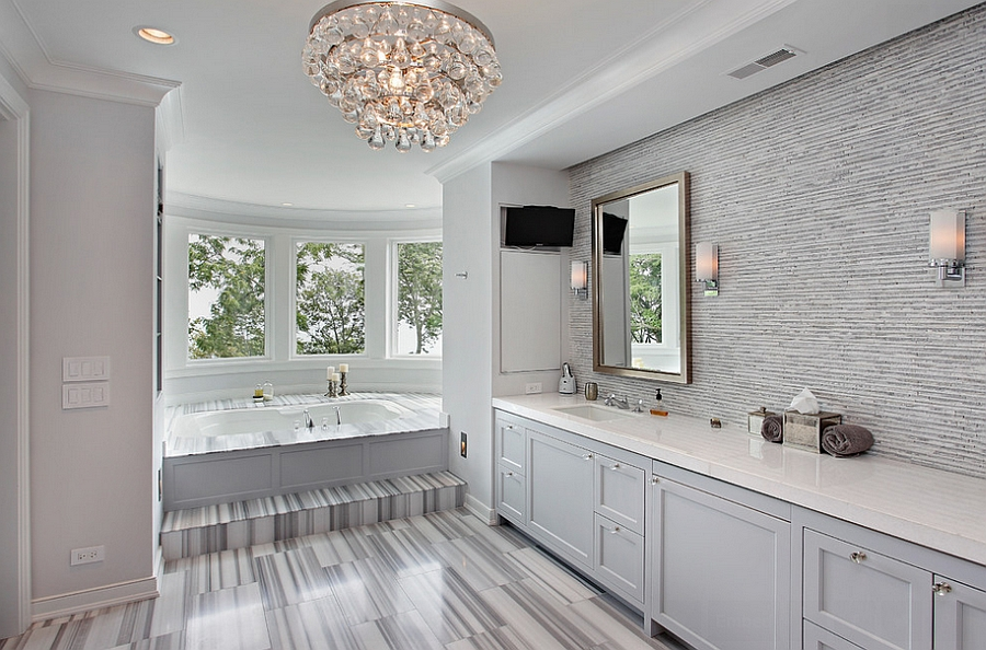 Beau ... Posh Bathroom Is Both Masculine And Feminine At The Same Time [Design:  Highgate Builders