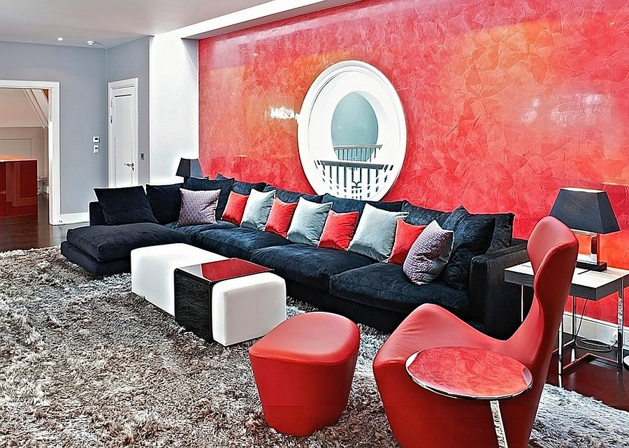 Red Living Rooms Design Ideas Decorations Photos - Black and grey and red living room
