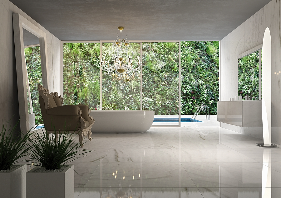 Pristine white natural stone steals the show in the bathroom