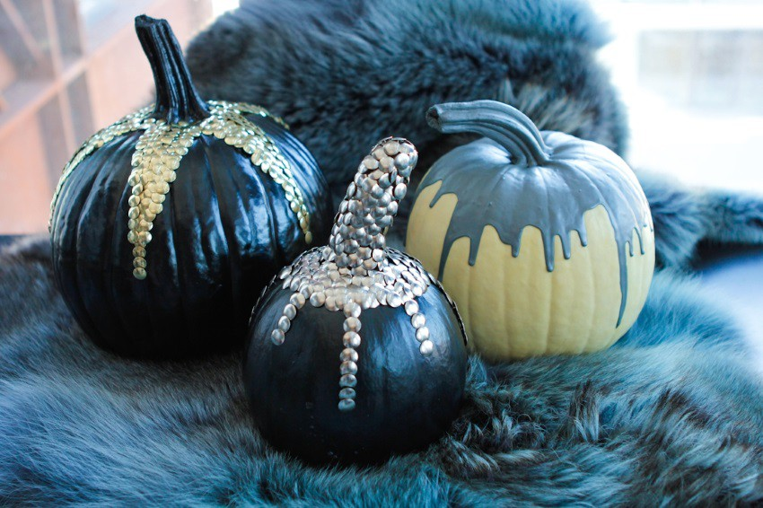 Pumpkins decorated with thumb tacks
