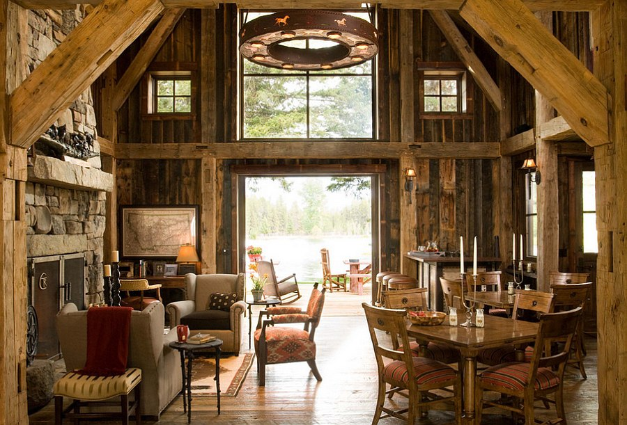 reclaimed barn wood and stone shape the rustic living space design rmt architects - Cabin Living Room Decor