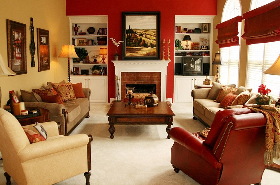 Red accent wall brightens the fabulous room