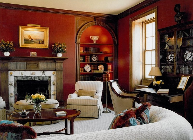 traditional home living rooms.  Red is a perfect fit in traditional homes By Sroka Design Living Rooms Ideas Decorations Photos