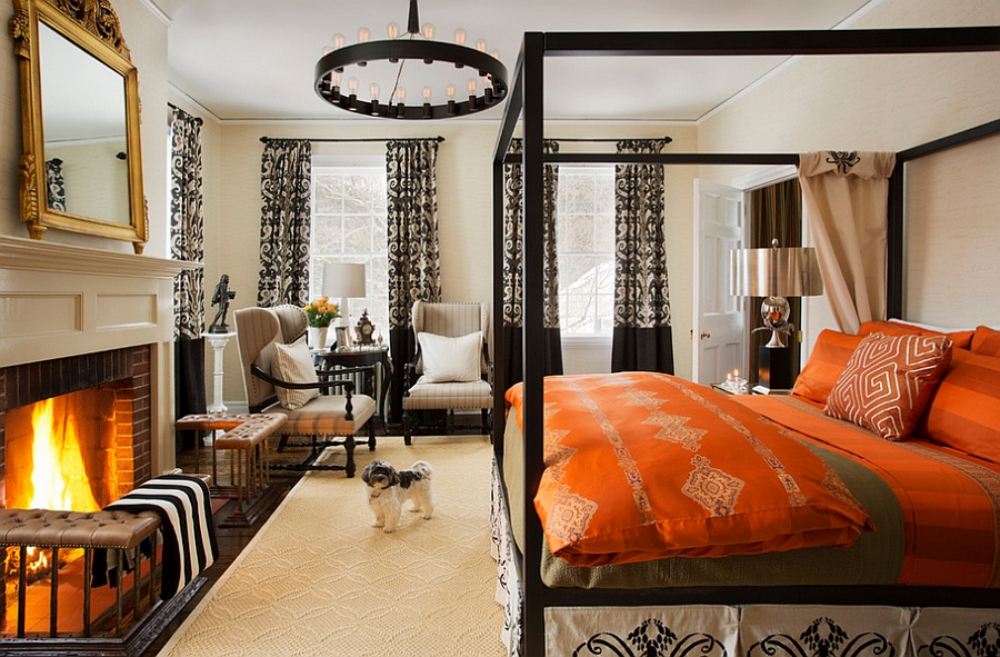 Rich array of textures and colors enliven the master bedroom [By: Favreau Design]