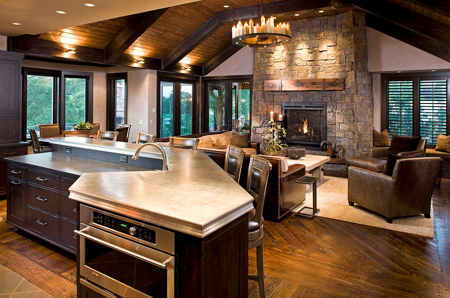 Rustic family room clad in natural stone and timber