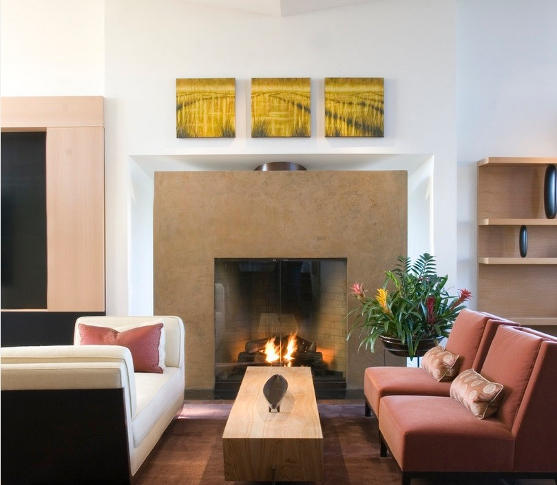 San Francisco family room with blush tones and a fireplace